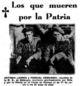 Obituario de Antonio Larrea y Pascual Urzainqui
